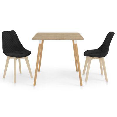 vidaXL Set de masă, 3 piese, negru