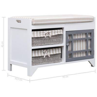 vidaXL Bancă de hol, alb, 70x33,5x45 cm, lemn de paulownia