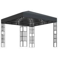 vidaXL Pavilion cu șir de lumini, antracit, 3x3 m