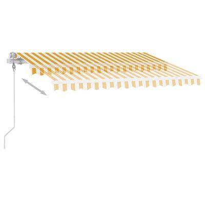 vidaXL Copertină automată cu senzor vânt & LED, galben/alb, 350x250 cm