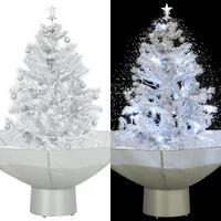 vidaXL Brad de Crăciun cu ninsoare și bază umbrelă, alb, 75 cm