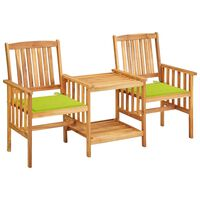 vidaXL Garden Chairs with Tea Table and Cushions Solid Acacia Wood (312029+314062)