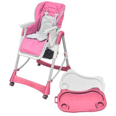 vidaXL Scaun înalt pentru copii, Deluxe, roz, înălțime reglabilă