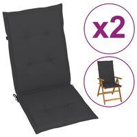 vidaXL Perne pentru scaun de grădină, 2 buc, antracit, 120x50x4 cm