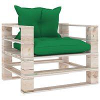 vidaXL Canapea de grădină din paleți cu perne verzi, lemn de pin