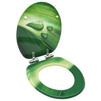 vidaXL Capac WC închidere silențioasă, verde, MDF, model picătură apă
