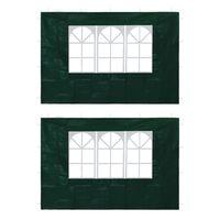 vidaXL Pereți laterali cort petrecere, 2 buc., verde, cu fereastră