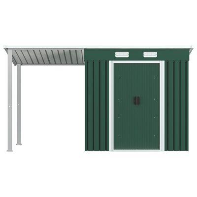 vidaXL Șopron grădină, acoperiș extins, verde, 346x121x181 cm, oțel