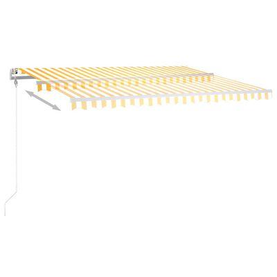 vidaXL Copertină retractabilă manual cu LED, galben și alb, 450x350 cm