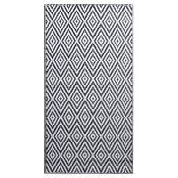 vidaXL Covor de exterior, alb și negru, 190x290 cm, PP