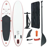vidaXL Set placă stand up paddle SUP surf gonflabilă, roșu și alb