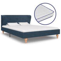 vidaXL Pat cu saltea cu spumă memorie albastru 120 x 200 cm textil