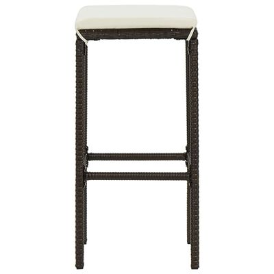 vidaXL Set mobilier bar de grădină, cu perne, 3 piese, maro, poliratan