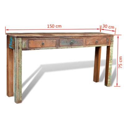 vidaXL Masă consolă cu 3 sertare, lemn reciclat