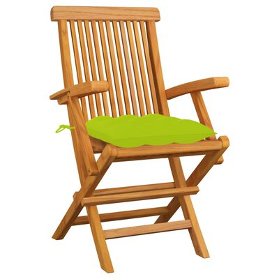 vidaXL Scaune de grădină cu perne verde aprins, 3 buc., lemn masiv tec