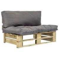 vidaXL Canapea de grădină din paleți cu perne gri, lemn de pin