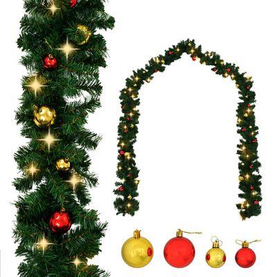 vidaXL Ghirlandă de Crăciun decorată cu globuri și becuri LED, 10 m