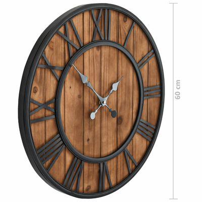 vidaXL Ceas de perete vintage, cu cuarț, lemn și metal, XXL, 60 cm