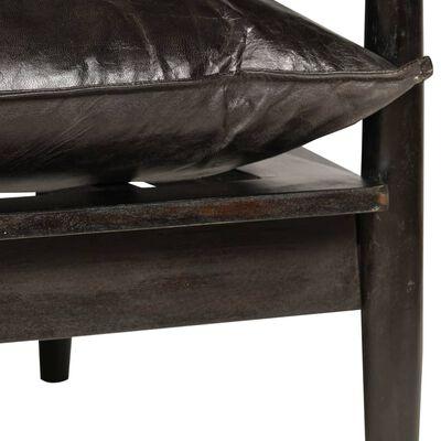 vidaXL Canapea cu 2 locuri, piele naturală cu lemn de acacia, negru