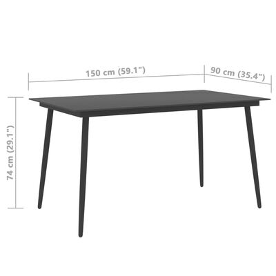 vidaXL Set mobilier de grădină, 5 piese, negru, ratan PVC
