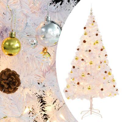 vidaXL Pom de Crăciun artificial decorat cu globuri și LED 210cm alb