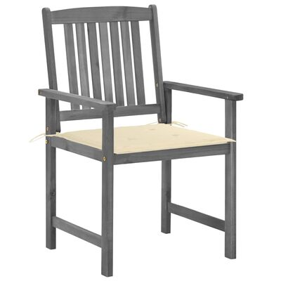 vidaXL Scaune regizor cu perne, 2 buc., gri, lemn masiv de acacia