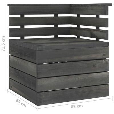 vidaXL Canapea de grădină din paleți, colțar, gri închis, lemn pin