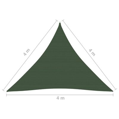 vidaXL Pânză parasolar, verde închis, 4x4x4 m, HDPE, 160 g/m²