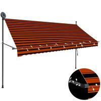vidaXL Copertină retractabilă manual cu LED, portocaliu & maro, 300 cm