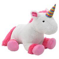 vidaXL Unicorn de jucărie, roz și alb, pluș