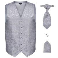 Set vestă nuntă pentru bărbați, imprimeu Paisley, mărime 50, argintiu