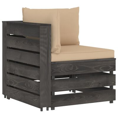 vidaXL Set mobilier grădină cu perne, 12 piese, gri, lemn tratat