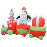 vidaXL Pinguin & șoricel pe tren gonflabil Crăciun LED IP44 500 cm XXL