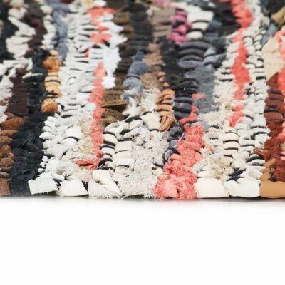 vidaXL Covor Chindi țesut manual, multicolor, 120 x 170 cm, piele, Multicolour