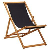 vidaXL Scaun de plajă pliabil, negru, lemn de eucalipt și țesătură