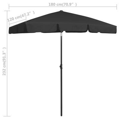 vidaXL Umbrelă de plajă, negru, 180x120 cm