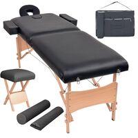 vidaXL Set taburet și masă masaj pliabilă 2 zone, 10 cm grosime, negru