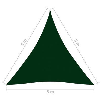 vidaXL Parasolar, verde închis, 5x5x5 m, țesătură oxford, triunghiular