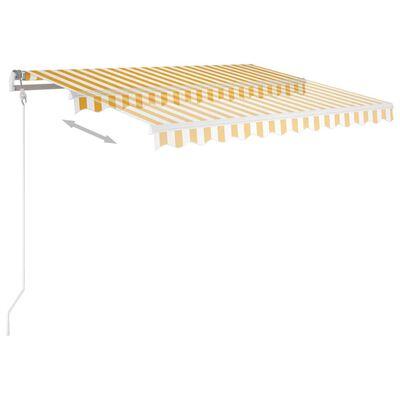 vidaXL Copertină retractabilă automat cu stâlpi, galben & alb, 3x2,5 m