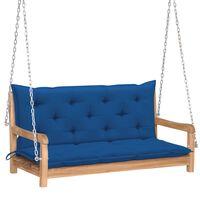 vidaXL Balansoar cu pernă albastru, 120 cm lemn masiv tec