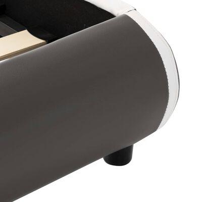 vidaXL Cadru pat cu LED, antracit, 140 x 200 cm, piele ecologică