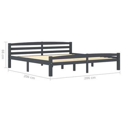 vidaXL Cadru de pat, gri închis, 200x200 cm, lemn masiv de pin