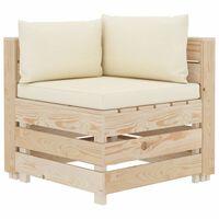 vidaXL Canapea de grădină din paleți, colțar, cu perne crem, lemn