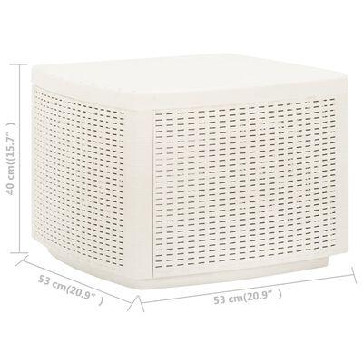 vidaXL Masă de grădină, alb, 53x53x40 cm, plastic