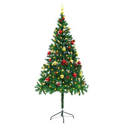 vidaXL Pom de Crăciun artificial decorat globuri și LED 180cm verde