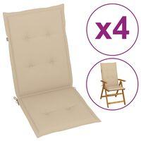 vidaXL Perne scaun de grădină, 4 buc., bej, 120 x 50 x 3 cm