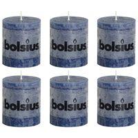 Bolsius Lumânări bloc rustice, 6 buc., albastru închis, 80 x 68 mm