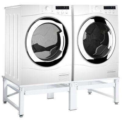 vidaXL Suport mașină de spălat/uscător, cu rafturi retractabile, alb