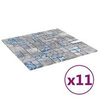 vidaXL Plăci mozaic autoadezive 11 buc. gri&albastru, 30x30 cm, sticlă