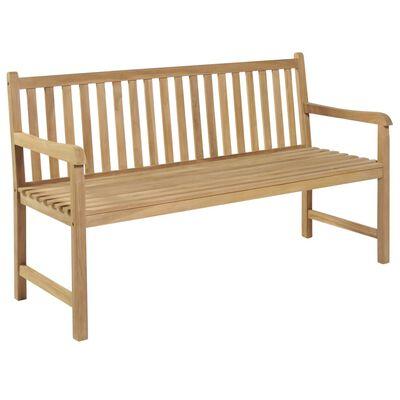 vidaXL Bancă grădină, cu pernă gri taupe, 150 cm, lemn masiv tec